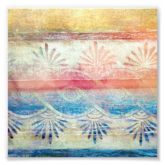 Pretty Rustic Pink and Blue Seashell Petal Wood Photo Print