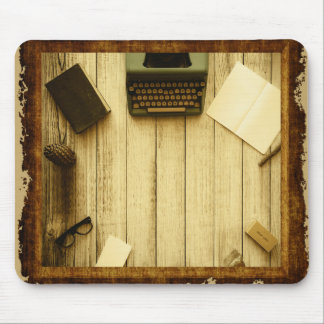 Pretty Rustic Vintage Book Typewriter Writing Mouse Pad