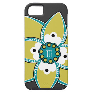 Pretty Sage and Blue Flower Petal Design iPhone 5 Case