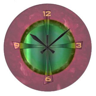 Pretty Salmon Pink and Green> Kitchen Clock