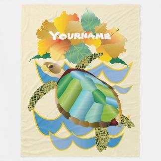 Pretty Sea Turtle Tropical Yellow Hibiscus Flowers Fleece Blanket