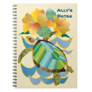 Pretty Sea Turtle Tropical Yellow Hibiscus Flowers Notebook