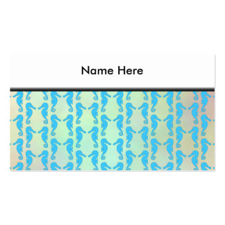 Pretty Seahorse Pattern. Blue and Pastel Multi. Business Card Template