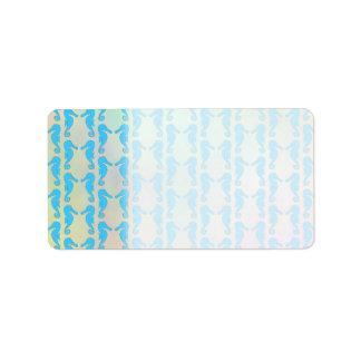 Pretty Seahorse Pattern. Blue and Pastel Multi. Label