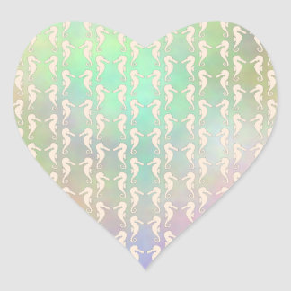 Pretty Seahorse Pattern in Pastel Colors Heart Sticker