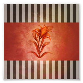 Pretty Sepia Vintage Striped Lily Flower Photographic Print