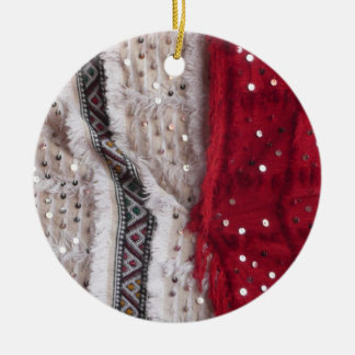 Pretty Sequin Fabric Double-Sided Ceramic Round Christmas Ornament
