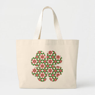 Pretty shamrock and hearts design tote bags