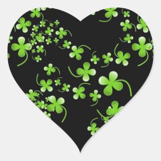 Pretty Shamrock pattern green on black accessory Heart Sticker