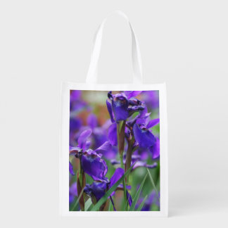 Pretty Siberian Iris Reusable Grocery Bag