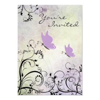 Pretty Silhouette Purple Butterfly Baby Shower 13 Cm X 18 Cm Invitation Card