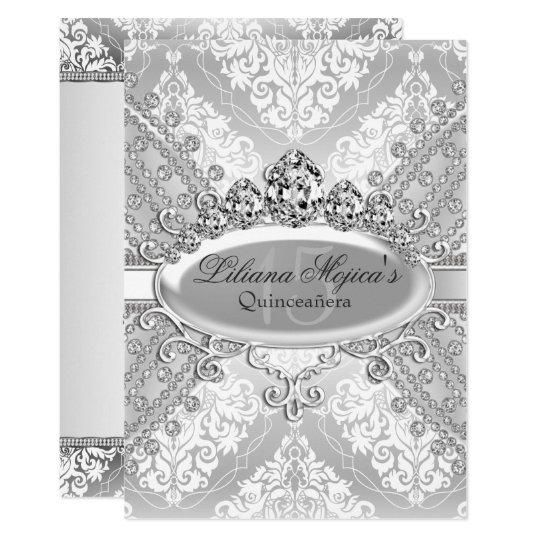 Pretty Silver Damask Tiara Quinceanera Card