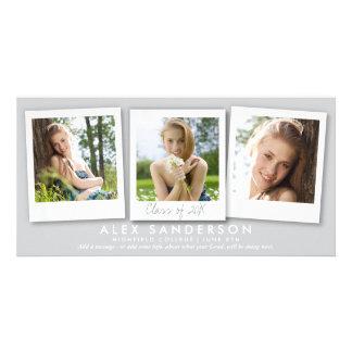 Pretty Silver-Gray Instant Style Photo Graduation Card