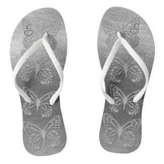 Pretty Silver Grey Butterflies Monogram Flip Flops
