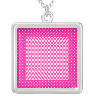 Pretty Silver Plated Necklace Candy Pink Geometric