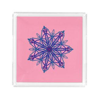 Pretty single snowflake star kaleidoscope on pink acrylic tray