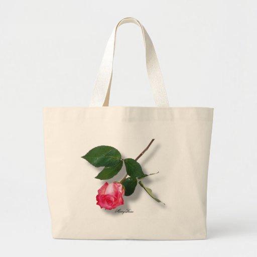 Pretty Single Stem Pink Rose Jumbo Tote Bag