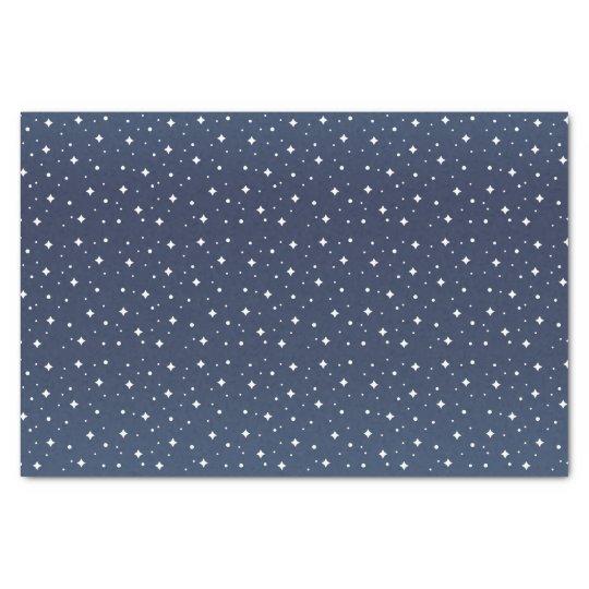 Pretty Slate Blue and White Stars Tissue Paper