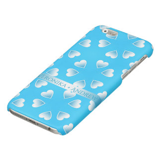 Pretty small blue hearts. Add your own text. iPhone 6 Plus Case