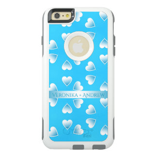 Pretty small blue hearts. Add your own text. OtterBox iPhone 6/6s Plus Case