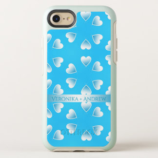 Pretty small blue hearts. Add your own text. OtterBox Symmetry iPhone 8/7 Case
