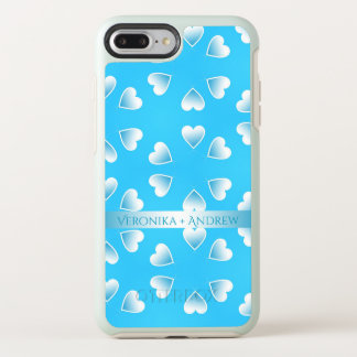 Pretty small blue hearts. Add your own text. OtterBox Symmetry iPhone 8 Plus/7 Plus Case