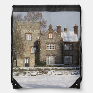 Pretty Snow Scene With Old Buildings Rucksack