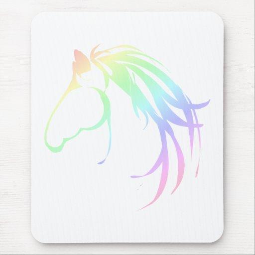 Pretty Soft Pastel Pink & Blue Horse Head Logo Mousepad