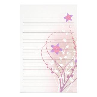pretty soft pink flower elegant lined paper