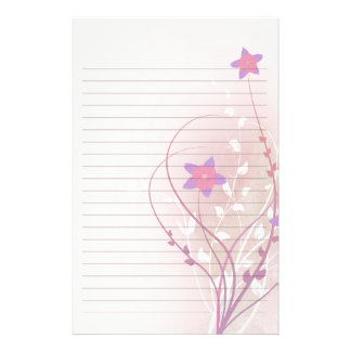 pretty soft pink flower elegant lined paper personalised stationery