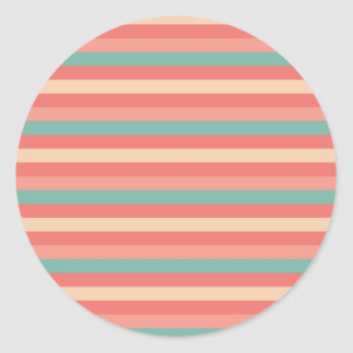 Pretty Southwestern Teal and Rose Striped Pattern Round Sticker