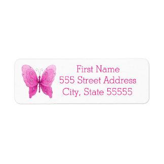 Pretty Sparkle Pink Butterfly Return Address Label