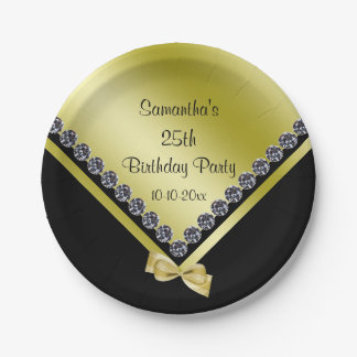 Pretty Sparkly Diamonds & Gold Bow 25th Birthday 7 Inch Paper Plate