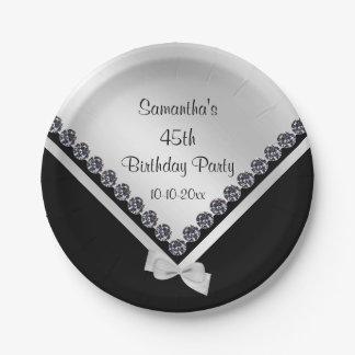 Pretty Sparkly Diamonds & Silver Bow 45th Birthday Paper Plate
