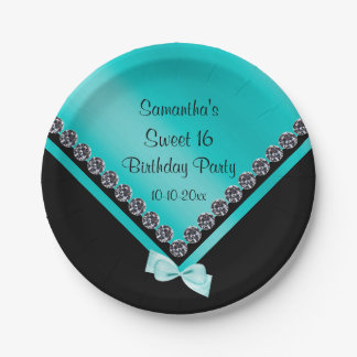 Pretty Sparkly Diamonds & Teal Bow Sweet 16 7 Inch Paper Plate