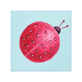 Pretty Spherical Abstract Watercolor Ladybug Kids Canvas Print