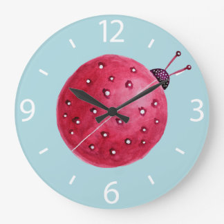 Pretty Spherical Abstract Watercolor Ladybug Large Clock
