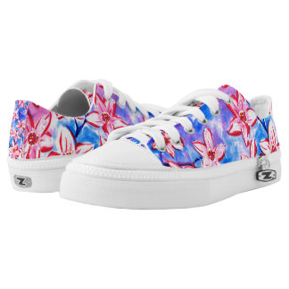 Pretty Spring Blossom Watercolour Low Top Shoes Printed Shoes