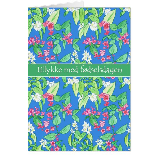 Pretty Spring Blossoms Danish Language Birthday Card