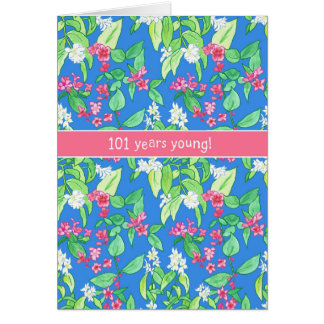 Pretty Spring Blossoms on Blue 101st Birthday Card
