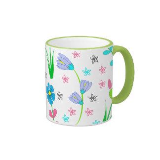 Pretty Spring Floral Pattern Ringer Coffee Mug
