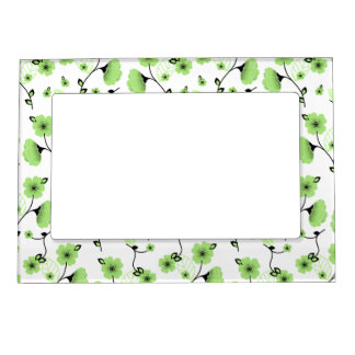 Pretty Spring Floral Pattern with Green Flowers Magnetic Frame