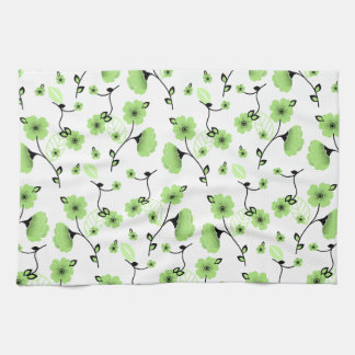 Pretty Spring Floral Pattern with Green Flowers Tea Towel
