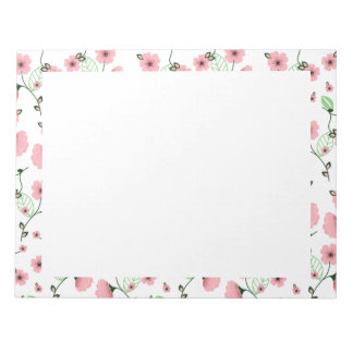 Pretty Spring Floral Pattern with Pink Flowers Notepad