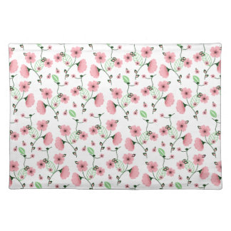 Pretty Spring Floral Pattern with Pink Flowers Placemat