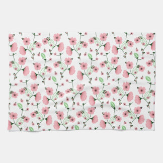 Pretty Spring Floral Pattern with Pink Flowers Tea Towel