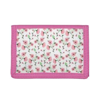 Pretty Spring Floral Pattern with Pink Flowers Tri-fold Wallet