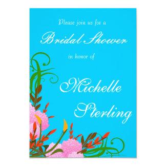 Pretty Spring Floral Sprays Against Bright Blue 13 Cm X 18 Cm Invitation Card