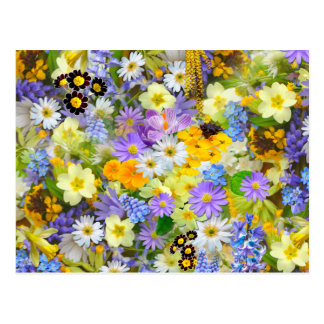 Pretty Spring Flowers Collage Postcard