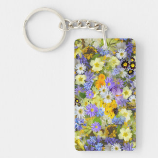 Pretty Spring Flowers Lush Colorful Bouquet Design Double-Sided Rectangular Acrylic Keychain